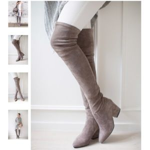 Thigh High Goodnight Macaroon Taupe Boots - New!